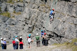 School residential trip climbing