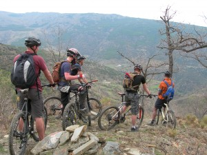 Adrenaline junkies taking part in mountain biking activities in Wales!